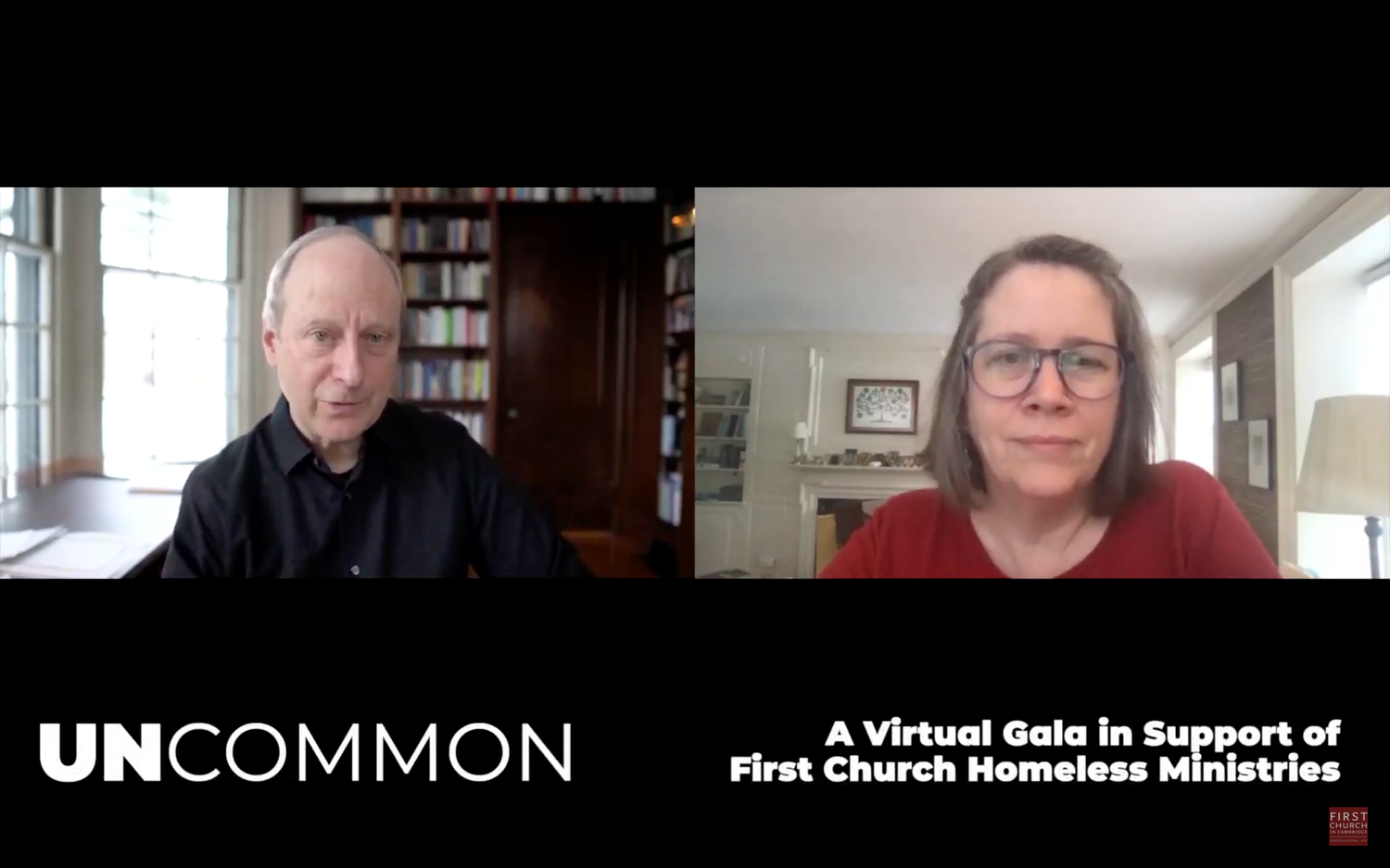 Harvard Government professor Michael J. Sandel, left, spoke at a fundraiser benefitting homeless programs at the First Church in Cambridge. Sandel was interviewed by Divinity School professor and Interim Minister of Memorial Church Stephanie A. Paulsell.