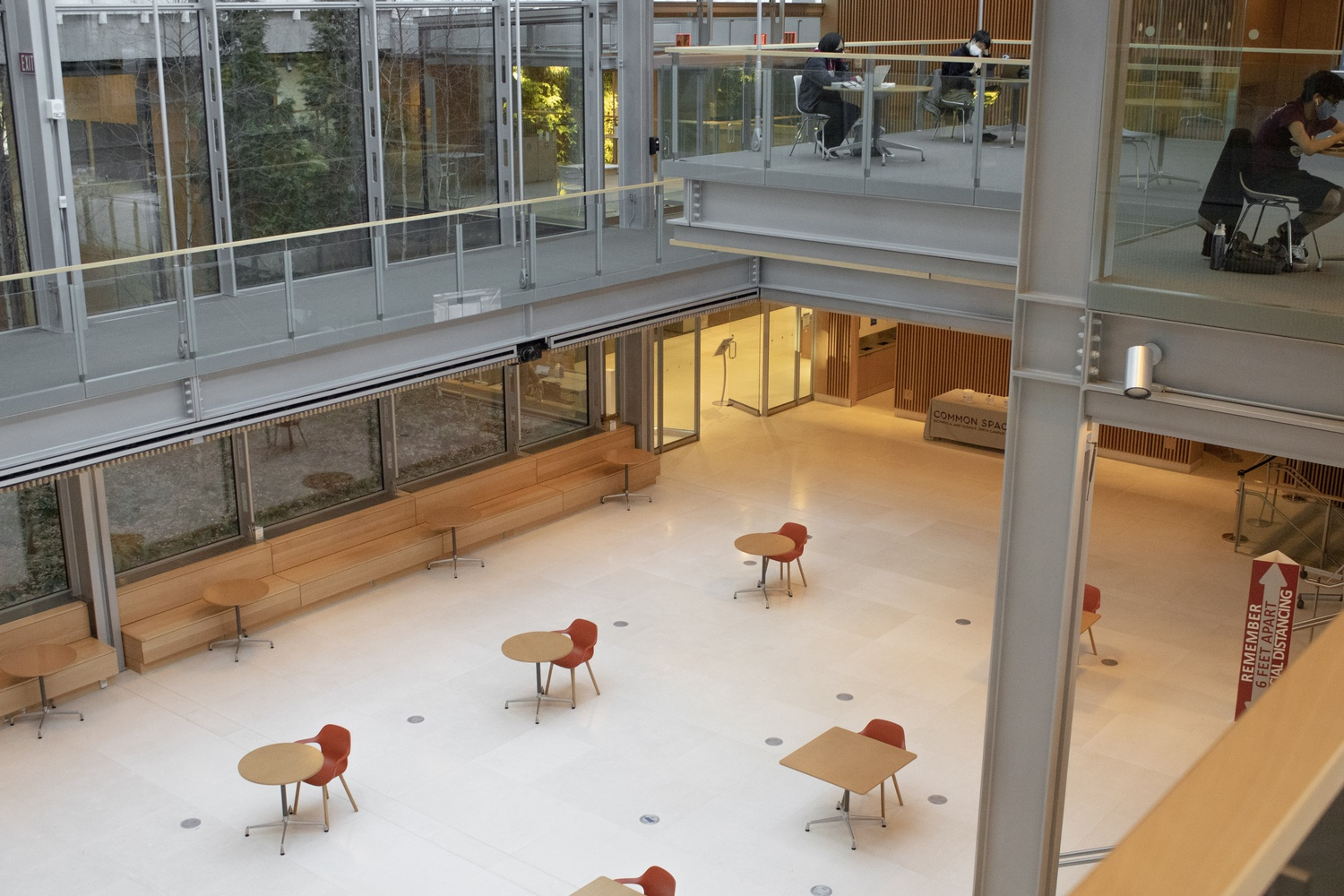 Strict coronavirus restrictions left students who wanted to visit the Smith Campus Center this spring limited to socially distanced tables available by reservation.