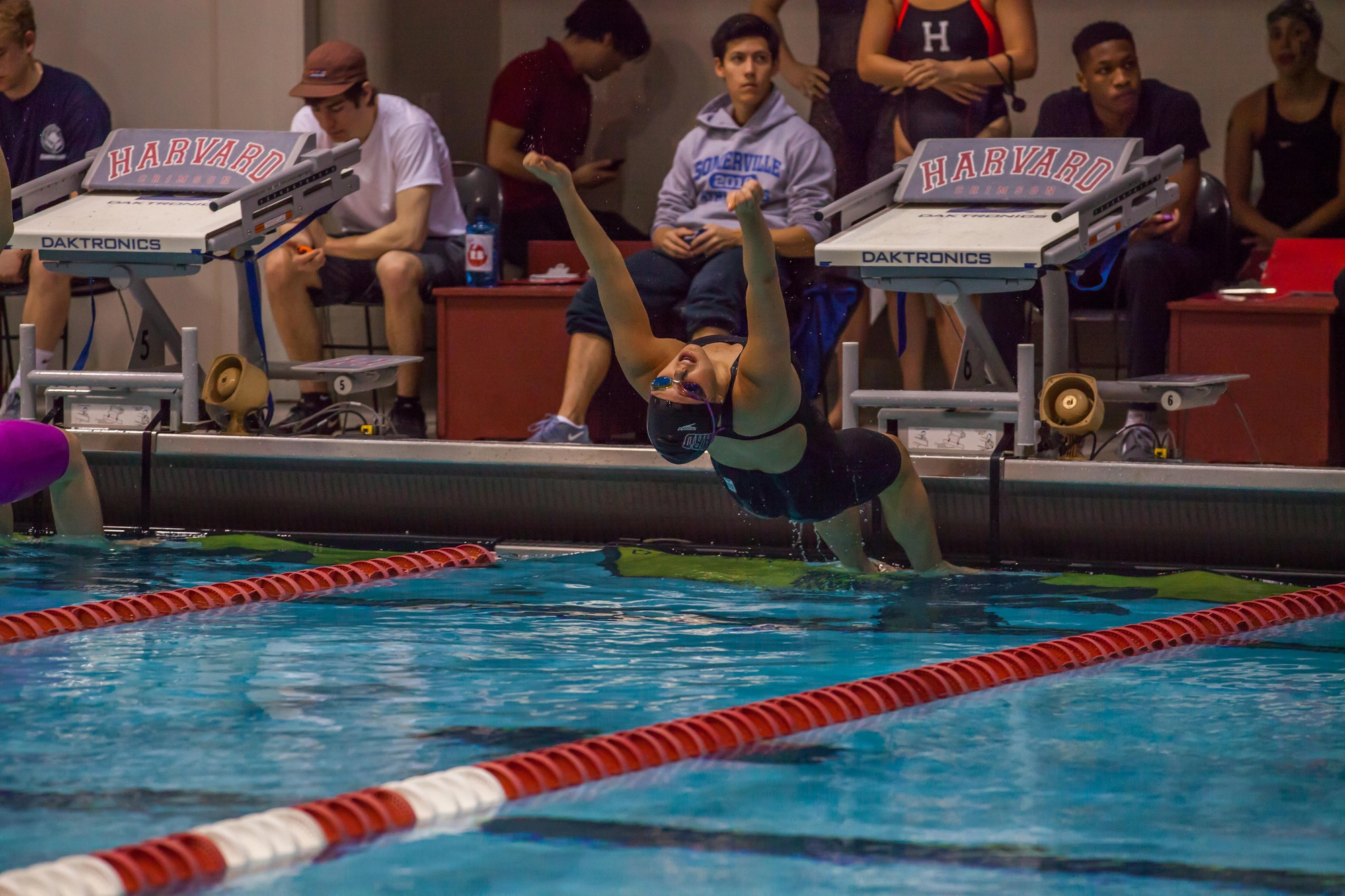 Tri-captain Cassandra Pasadyn explodes off the blocks into the backstroke. With the swim and dive season canceled this year, Pasadyn did not have the opportunity to get off the blocks, in part leading her to activate advanced standing and graduate early.