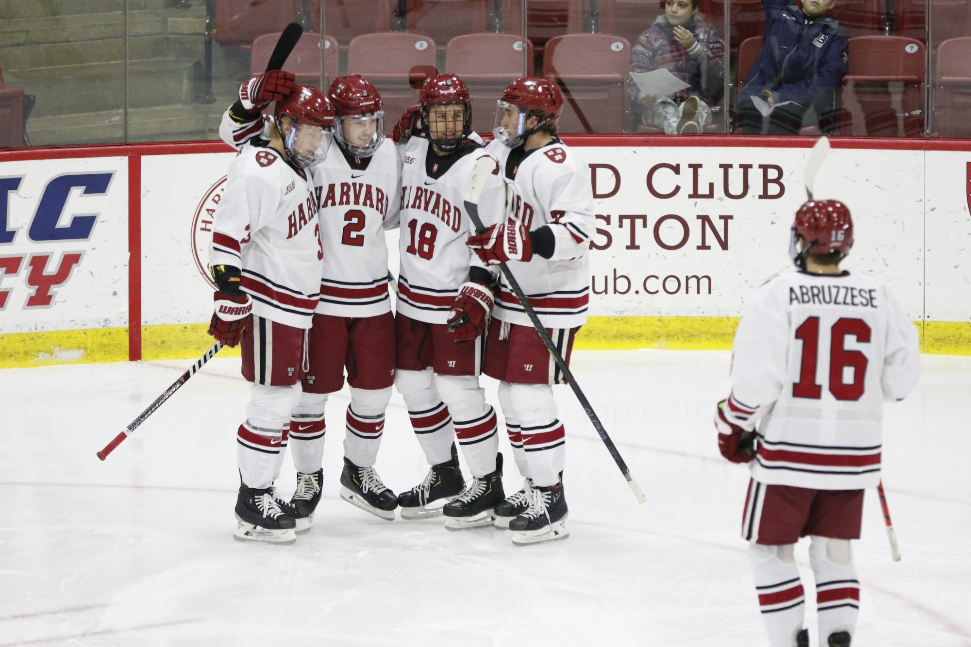 The Crimson offense comes together to celebrate a goal against St. Lawrence on March 7, 2020. The players did not know it at the time, but the 7-1 victory over the Saints just a year ago remains Harvard's last game played.