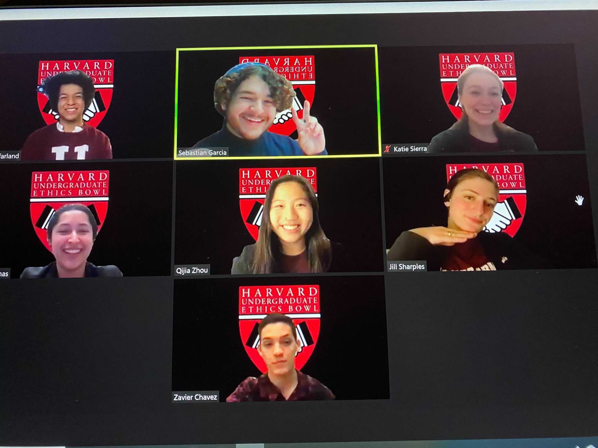 The Harvard Undergraduate Ethics Bowl in a Zoom meeting.