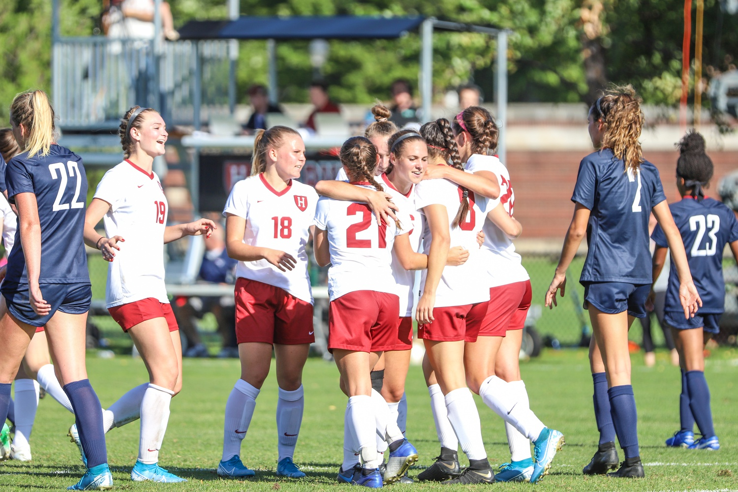 Schenk and teammates celebrate seconds after a goal by then-first-year Gabby DelPico (#21) in the 71st minute against Penn on Sept. 28, 2019. The strike would end up putting Harvard on top 1-0 in its first Ivy League conference game of the season.