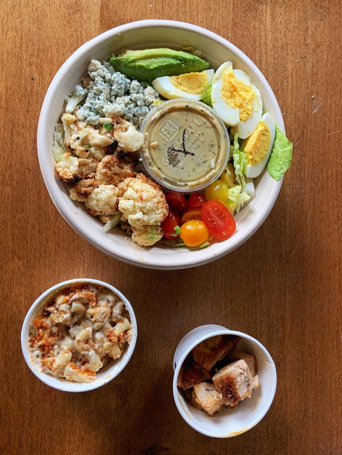 DIG's Cauliflower Cobb Salad with Charred Chicken and a side of Mac & Cheese.