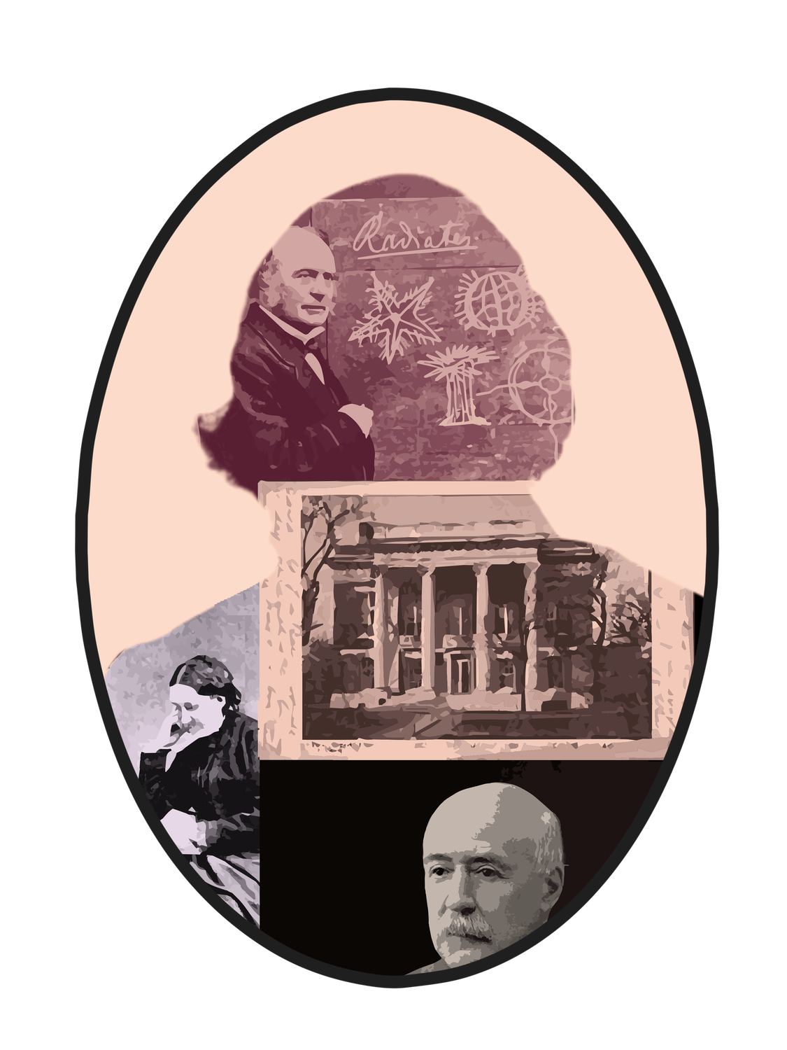 A portrait of Louis Agassiz, with photographs courtesy of the Peabody Museum of Archaeology and Ethnology, Harvard University and the Schlesinger Library, Radcliffe Institute, Harvard University.
