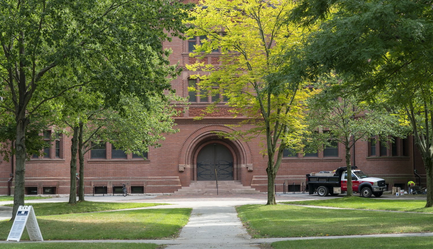 Harvard's campus sits largely empty in August 2020, amid the coronavirus pandemic. The College has yet to decide whether it will permit undergraduates taking Harvard Summer School classes this summer to live on campus.
