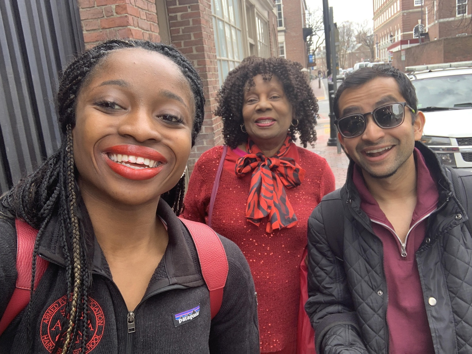 Jackson and Mahmud with Jackson's mother. The pair of newly elected student body presidents have known each other since their time at the College, when they were blockmates.