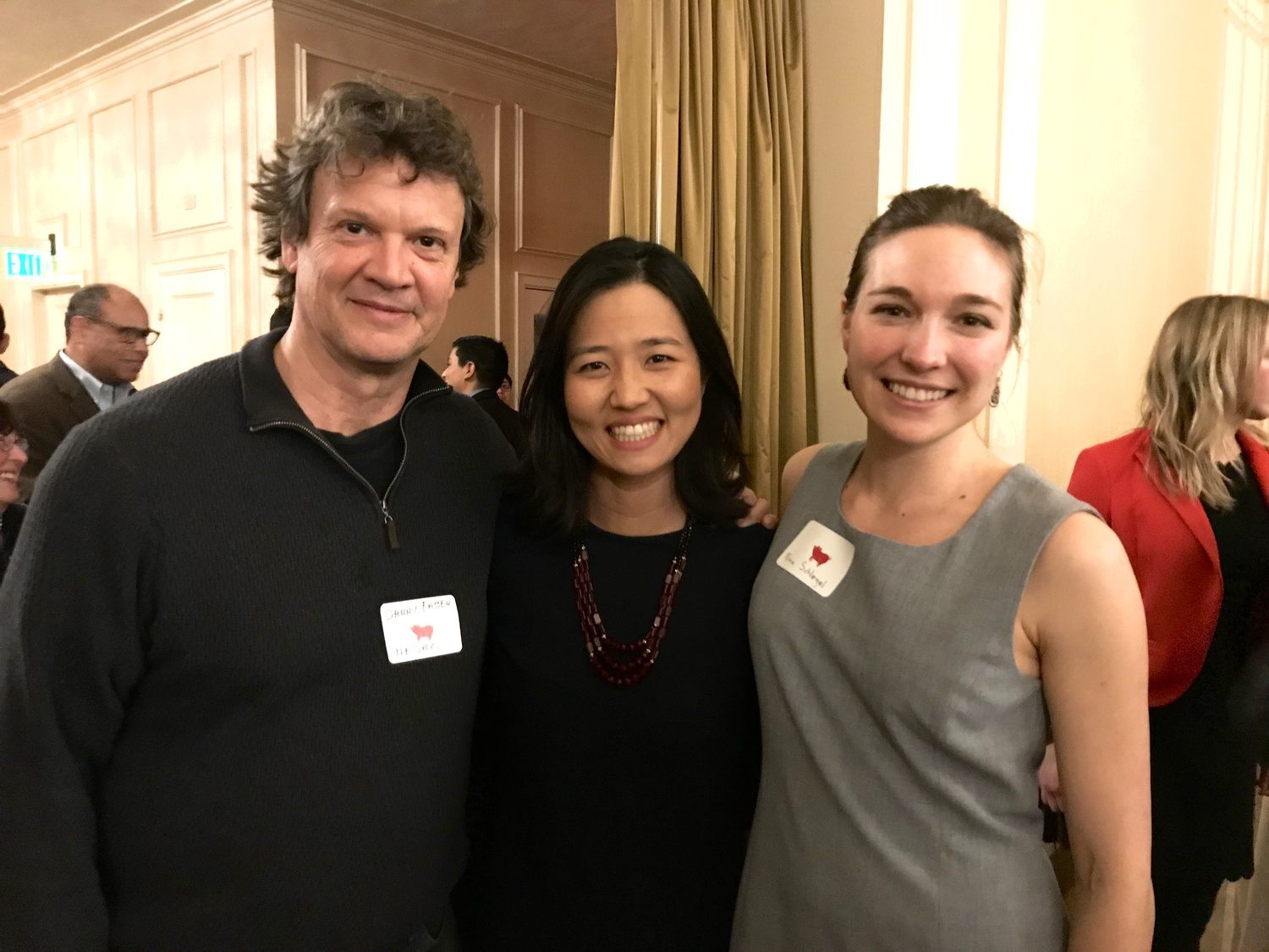 Wu poses with Nina A. Schlegel, the lead author of her Green New Deal policy, pre-pandemic.