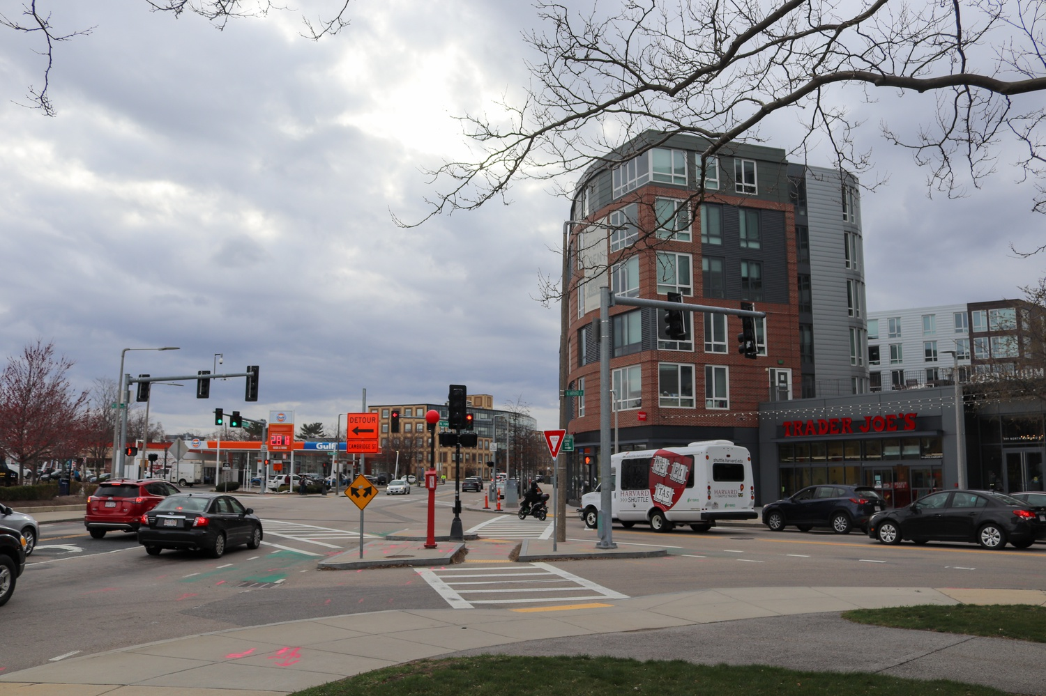 During a public meeting of the Harvard-Allston Task Force Tuesday, some residents questioned the developers of 180 Western Ave. on how they would mitigate complaints that arose during the contruction of 2014 Continuum development — seen above, right — in Barry's Corner, which was led by the same firm.