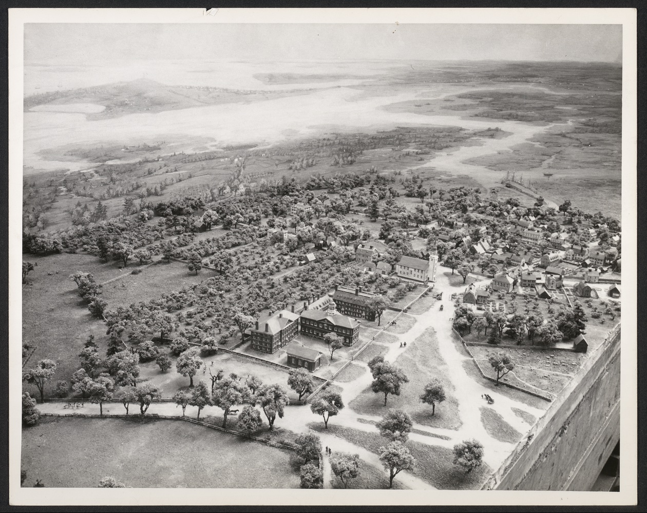 This 1947 photo shows the Pitman diorama of Harvard in 1775 looking down Cambridge Common. The year before campus became quarters for American militiamen amid the Revolution, Harvard Yard had only a dotting of colonial buildings.