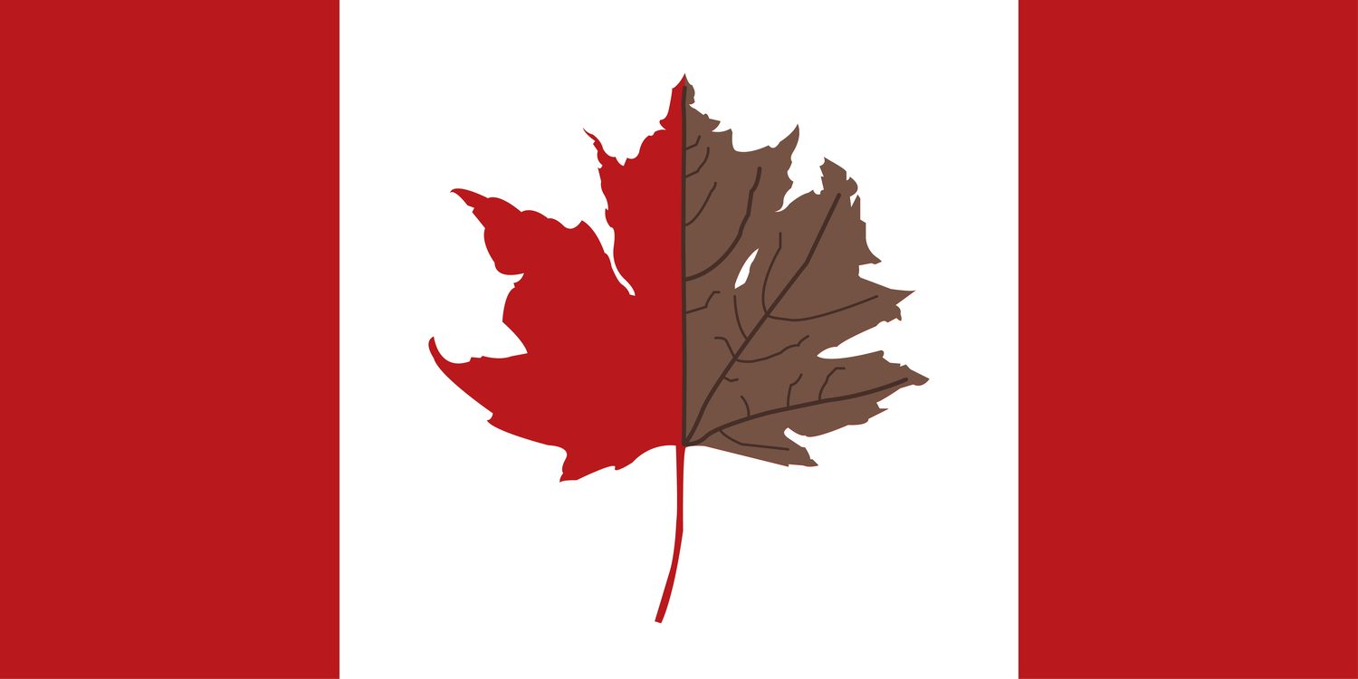 A withering maple leaf on the Canadian flag.