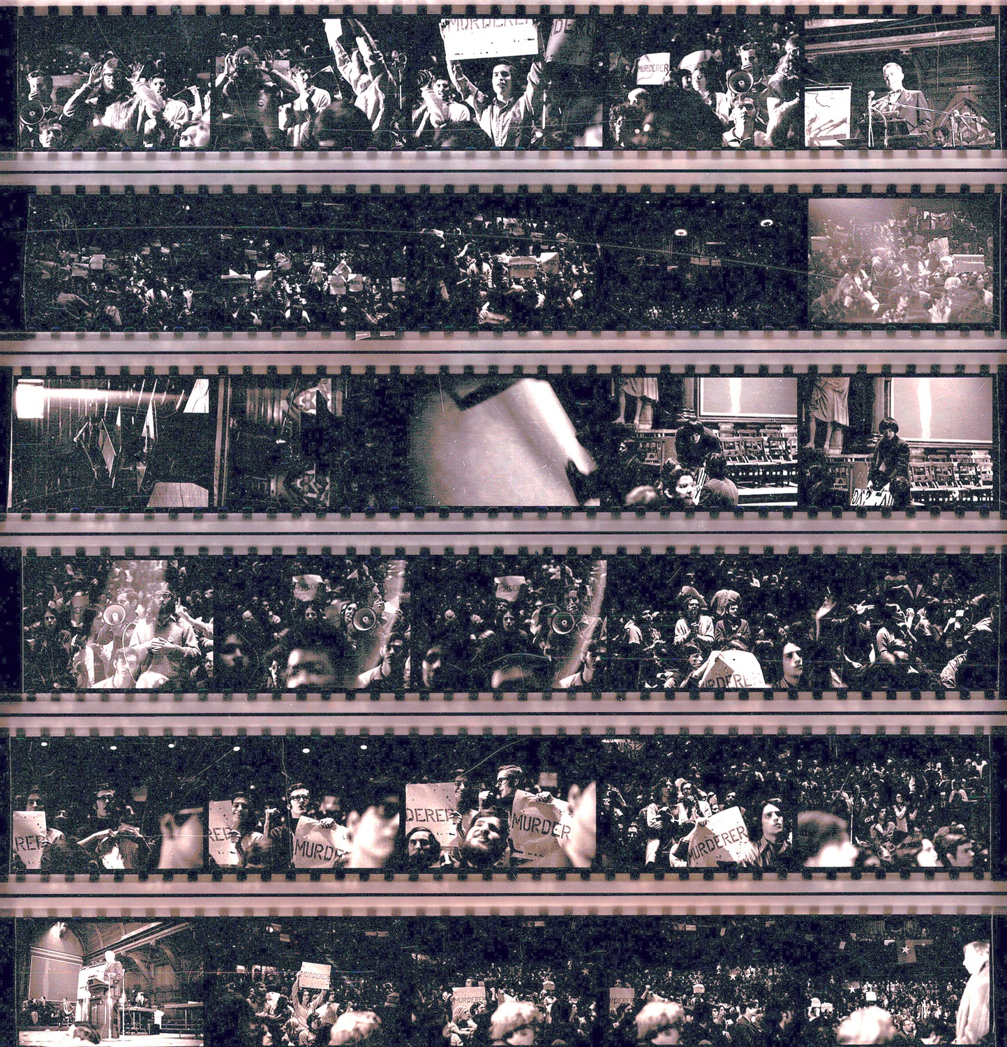 Contact sheets from photos taken at the Sanders Theatre protest.