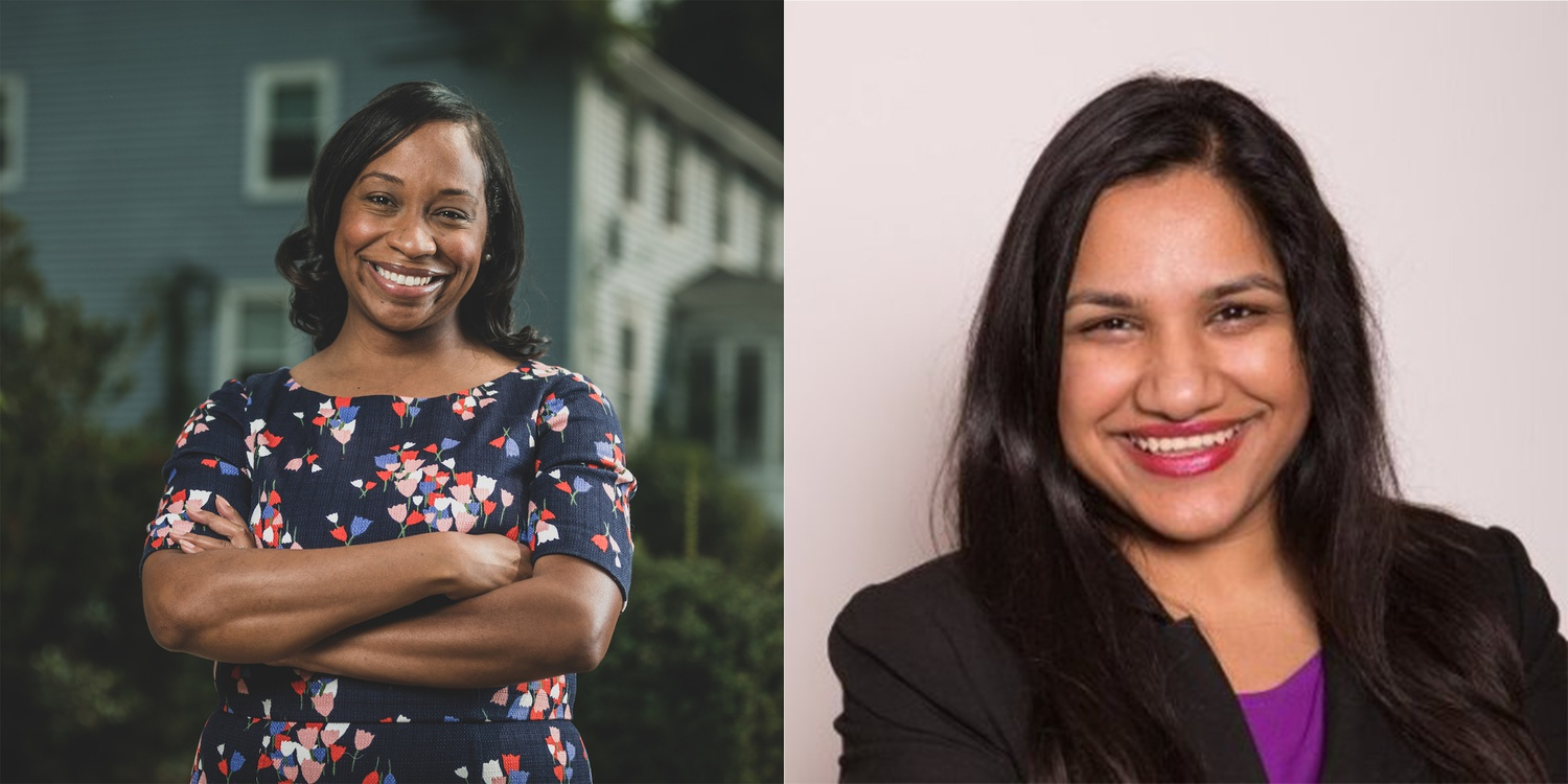 Locked in a crowded race for Boston mayor, Boston City Councilor Andrea J. Campbell, left, received the backing of Cambridge Mayor Sumbul Siddiqui.