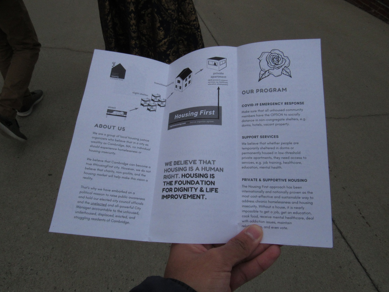A pamphlet from Project Right to Housing.
