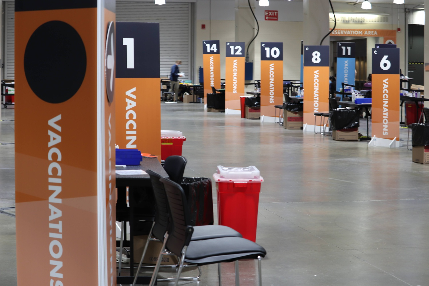 The state-run vaccination site at Hynes Convention Center in Boston can administer up to 7,000 shots per day.