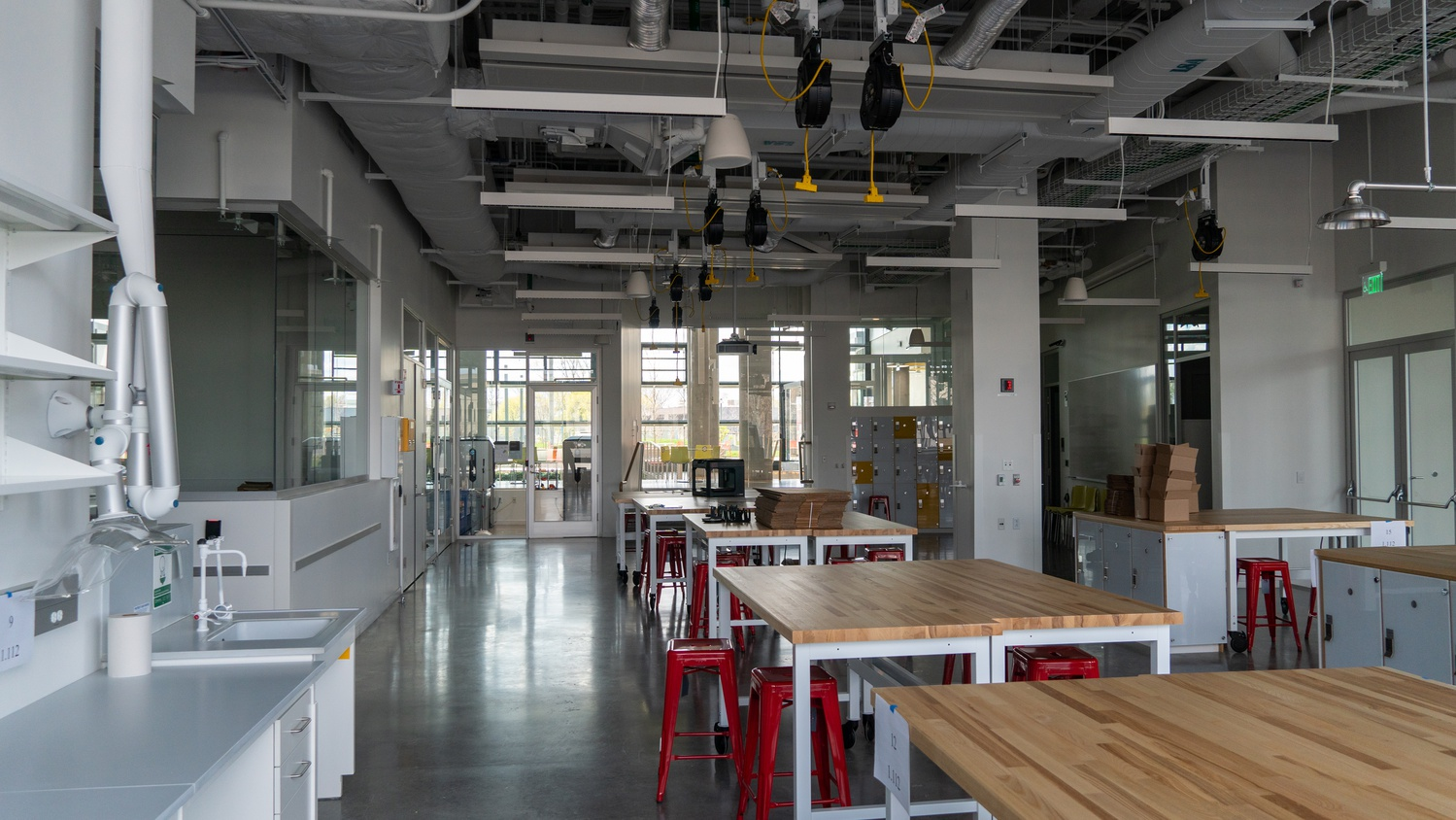 One section of the new Active Learning Labs, found on the first floor, is outfitted with new makerspace tools and machinery.