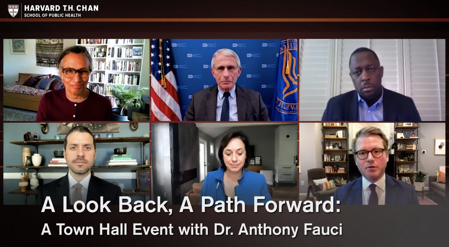 U.S. Chief Medical Advisor Anthony S. Fauci discussed the current state of the nation's response to Covid-19 during a virtual town hall event with the Harvard School of Public Health.