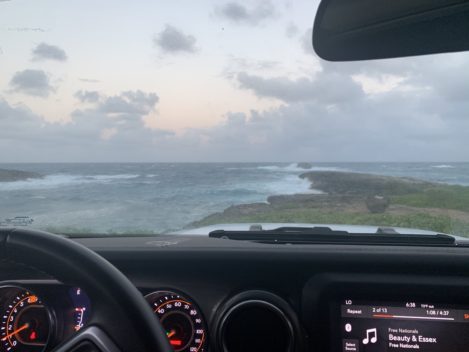 A view from the car in Oahu, Hawaii.