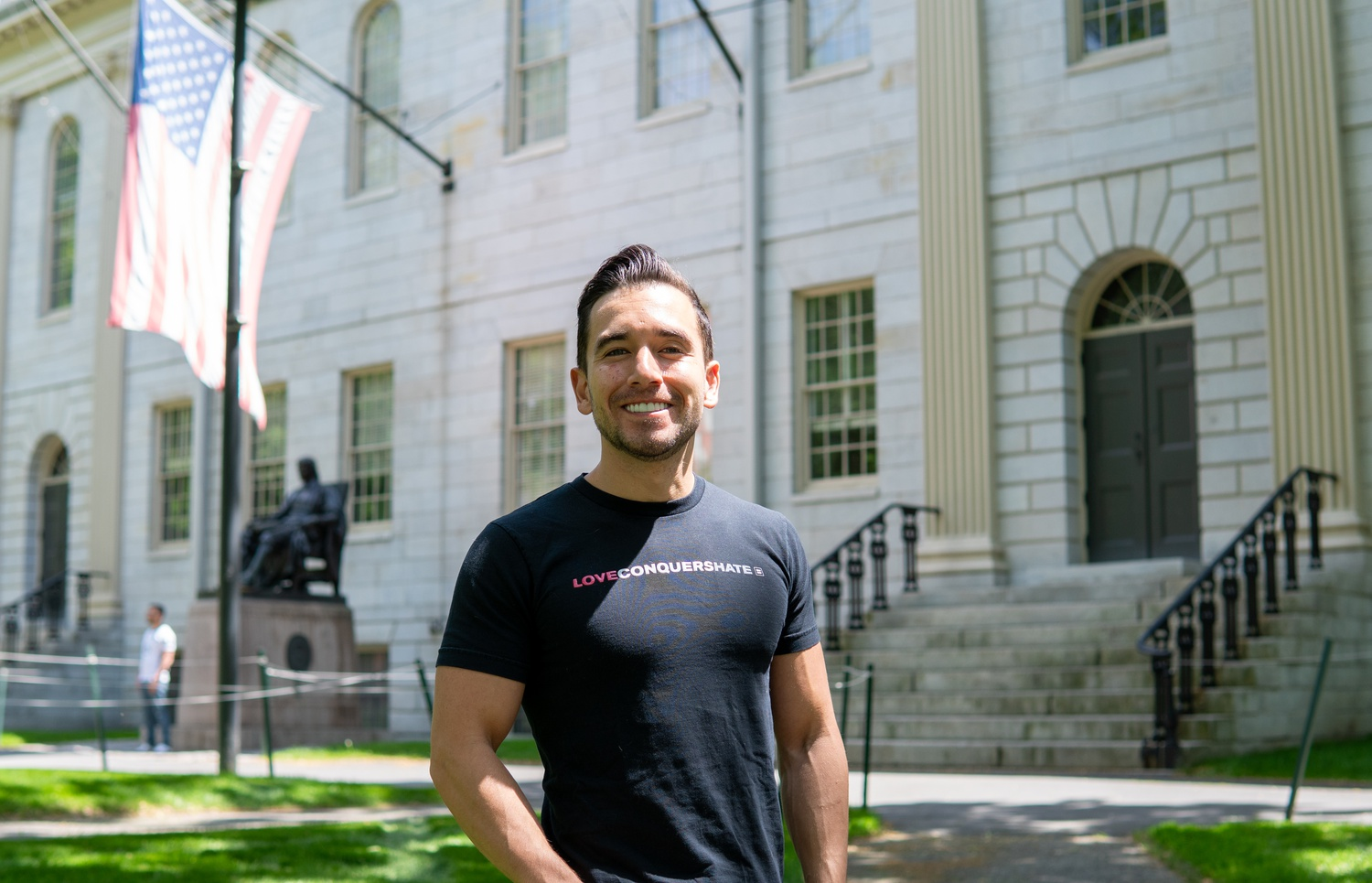 Diego Garcia Blum, a student at the Kennedy School, works on outreach for Secret Court 100, a group formed by Harvard students and faculty in 2020 to acknowledge the centennial of the Secret Court.