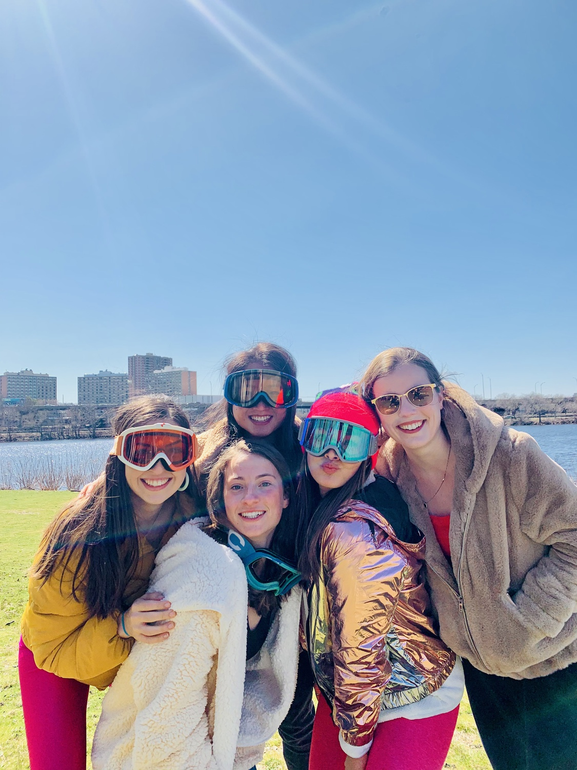 The blocking group at Magazine Beach in April. From left to right: Ciara E. Duggan '21, Olivia M. Price '21, Sophie M. Sun '21, Nellie F. Ide '21-22, Julia R. Friedman '21.