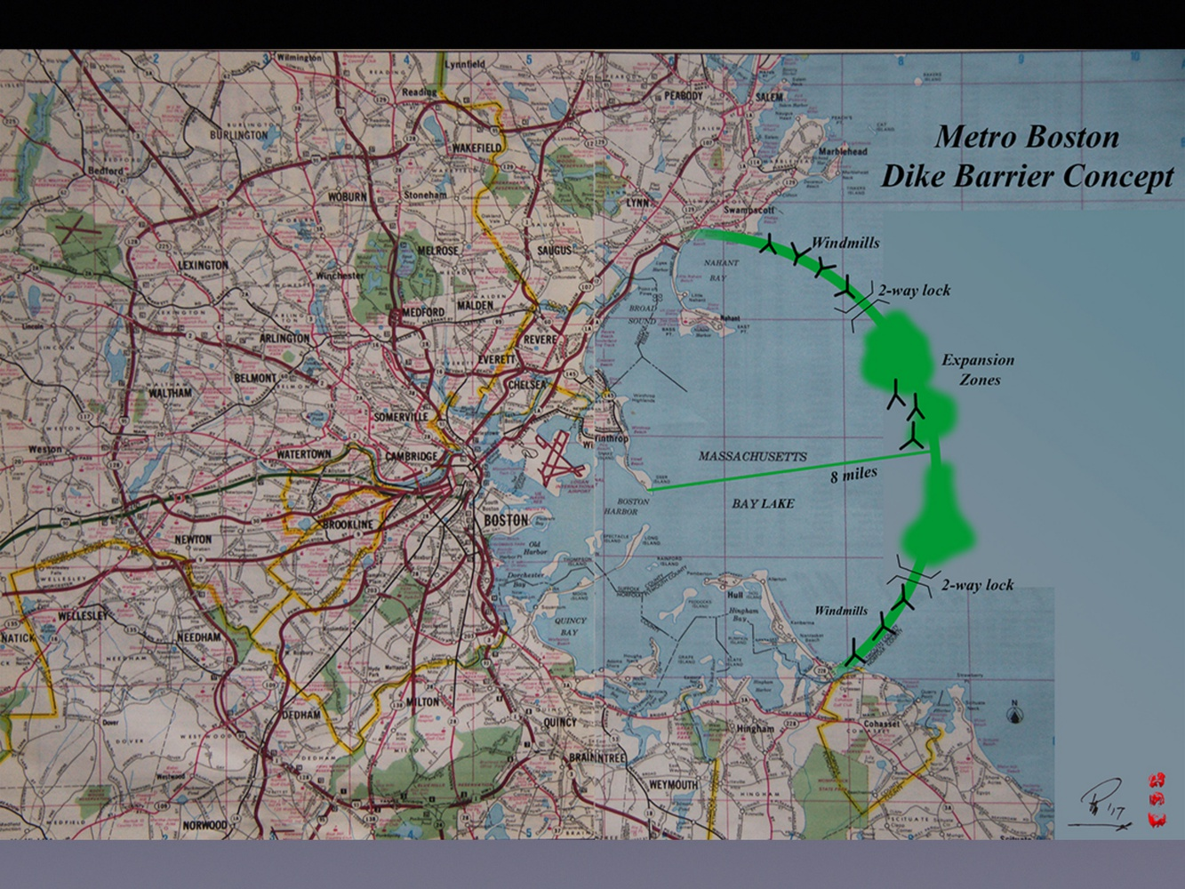 Architect Peter P. Papesch '60 proposed a $50 to $80 billion dike barrier megaproject to defend against sea level rise that would encircle the Boston area from Lynn to Hingham, Mass.