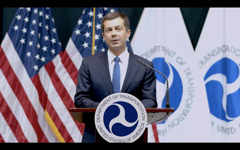 U.S. Secretary of Transportation Peter P. M. Buttigieg '04 speaks at the Harvard Kennedy School's virtual graduation ceremony Thursday.