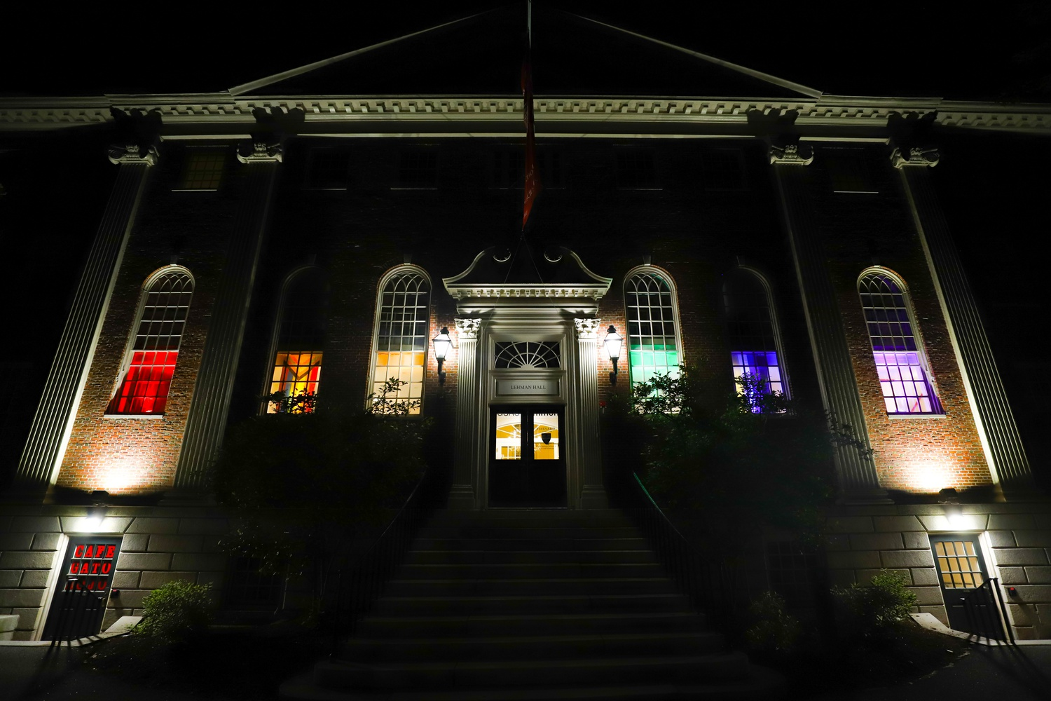 The University's expanded Pride Month programming this year included the illumination of the Graduate School of Arts and Sciences's Lehman Hall in rainbow colors.