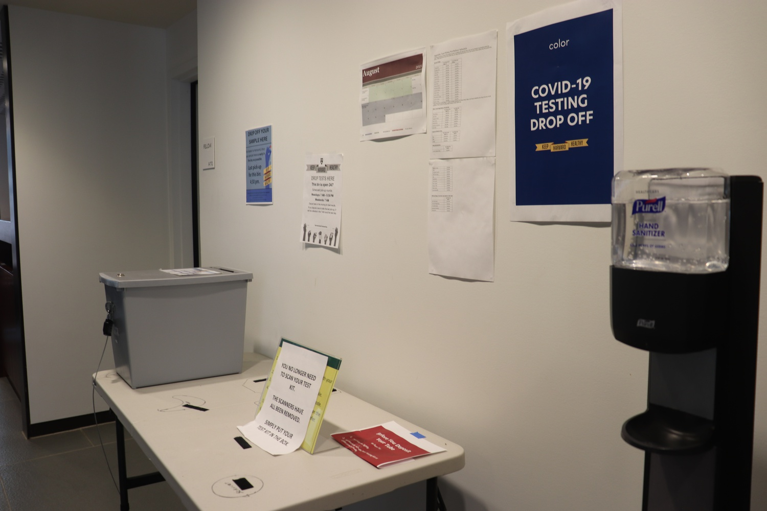 Students deposit their Covid-19 tests at drop-off sites located in their dormitories.