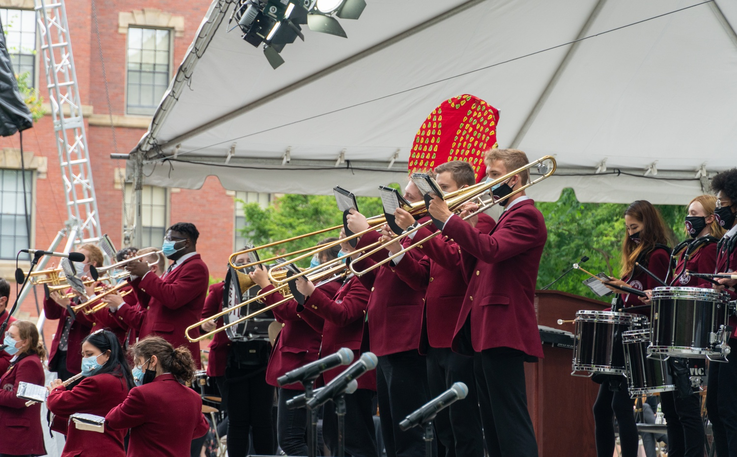The Harvard University Band plays on the steps of Memorial Church in Tercentenary Theatre during Convocation on Aug. 31.