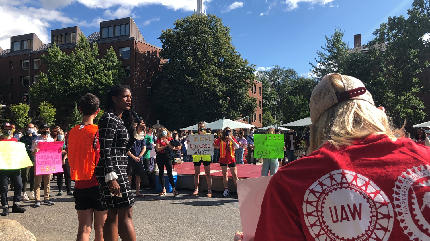 Boston City Councilor Lydia Edwards speaks at a rally for Harvard's graduate student union on Friday.