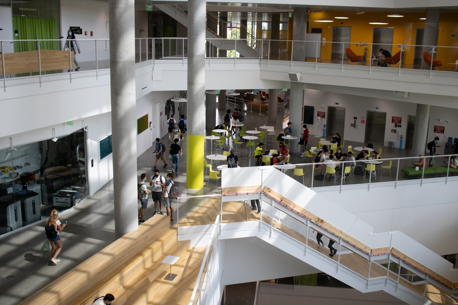 Students walk through the new Science and Engineering Complex on Wednesday afternoon. The $1 billion facility opened to the public in August.