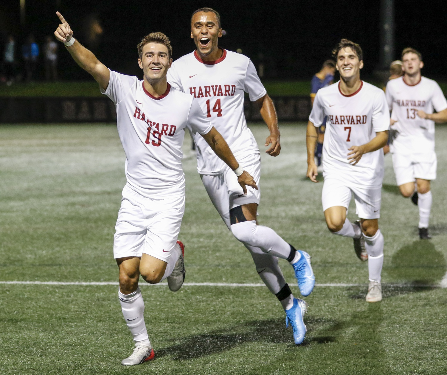 Harvard celebrates a goal in a 2019 matchup with Merrimack. The Crimson has had 5 opportunities to celebrate goals this season, after 4-0 and 1-1 results, and narrowly missed a chance for a sixth goal in Saturday's extra time against Bryant.