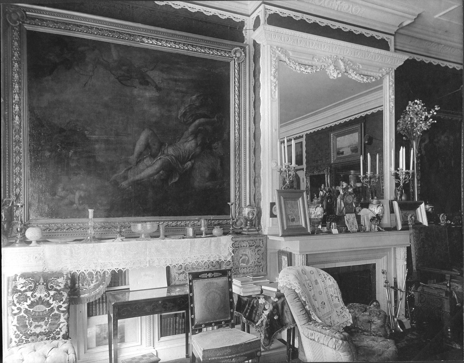 Thomas E. Marr, Titian's Rape of Europa installed in the Red Drawing Room at Isabella Stewart Gardner's residence at 152 Beacon Street, Boston, 1900.