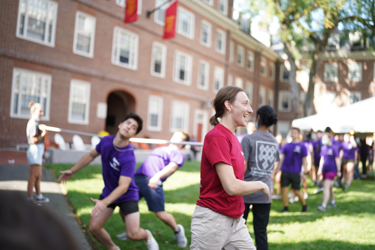 Students of Quincy House participate in the House's field day activities in the Quincy courtyard this past Saturday.