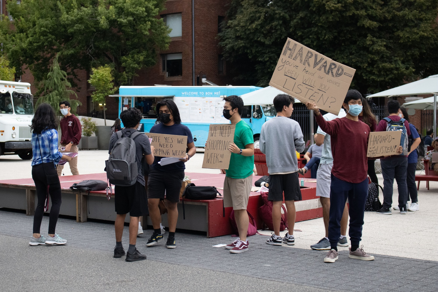 Undergraduates rallied in support of shopping week in Science Center Plaza Tuesday afternoon.