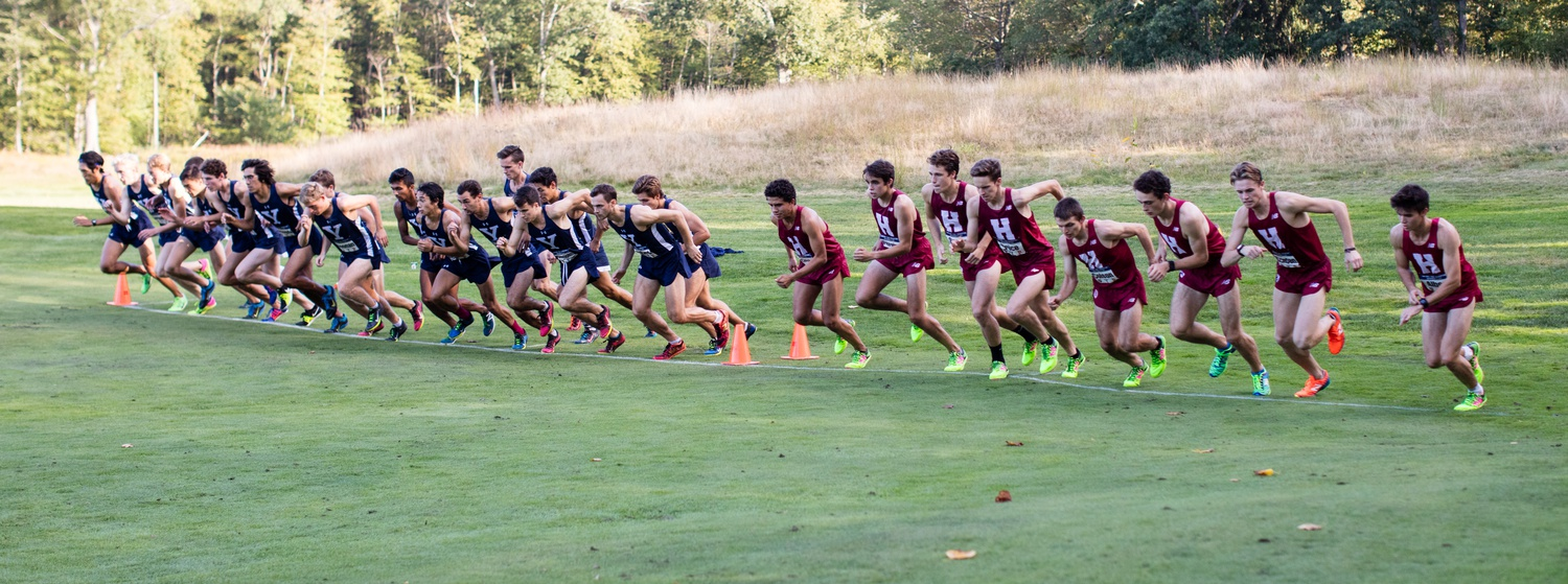 The Harvard men's cross country team lines up alongside Yale, one of the two rivals faced this week at the HYP meet, in a contest from a couple of years ago. At last Saturday's event, the Harvard women would go on to place second behind Princeton, narrowly missing out on the first-place crown. The Harvard men would go on to battle the Tigers as well but held on to win by a slim margin, narrowly fending off the Princeton charge.
