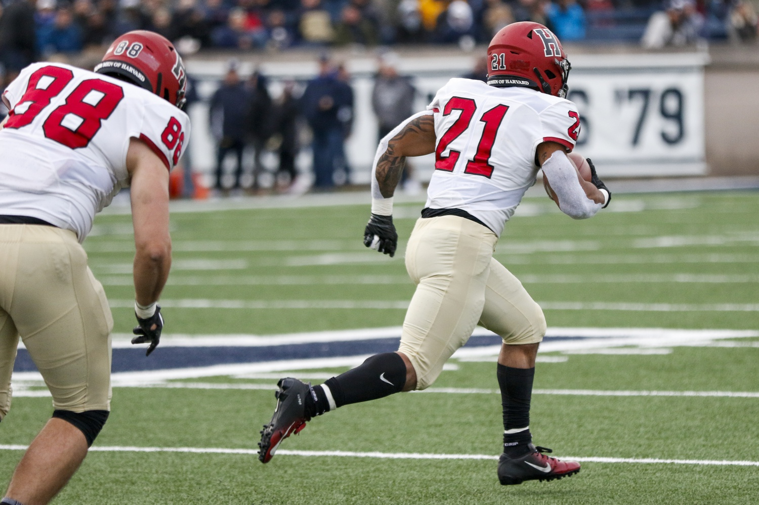 Sophomore running back Aidan Borguet, pictured above in 2019 against Yale, opened the Crimson's scoring attack on Saturday. Borguet posted a whopping 269 yards and four touchdowns in that Yale game, and against Georgetown, he earned 85 yards and a touchdown on seven carries.
