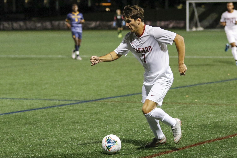 Senior forward Nico Garcia-Morillo surveys the field in a 2019 game. Garcia-Morillo led Harvard with four shots against Quinnipiac.