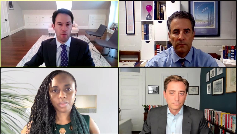 "Harvard Law School professorNicholas O. ""Nick"" Stephanopoulos, upper left, moderates a virtual speaker series featuringRepresentative John Peter S. Sarbanes (D-Md.), upper right,voting rights activist Esosa Osa, lower left, andjournalist Evan L. R. Osnos '98, lower left."