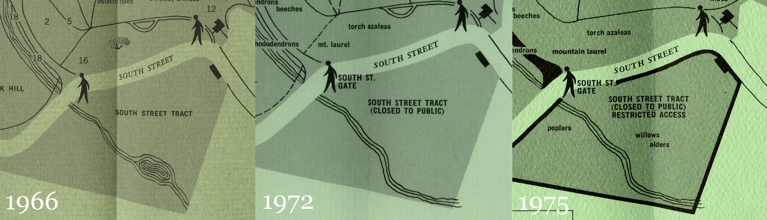 A side-by-side comparison of the South Street tract on visitor pamphlets from 1966, 1972, and 1975. After the pond filling, the tract was closed to the public.