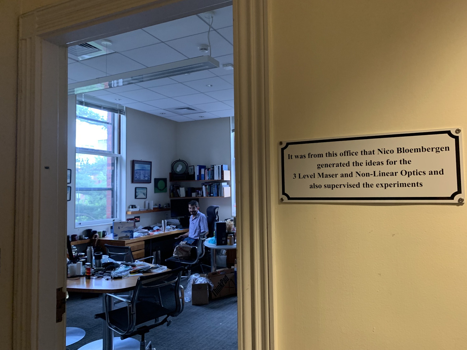 Physics professor David A. Weitz sits in his office in Pierce Hall, a historic building that has housed office multiple Nobel Prize-winning Harvard affiliates such as Nicolaas Bloembergen.