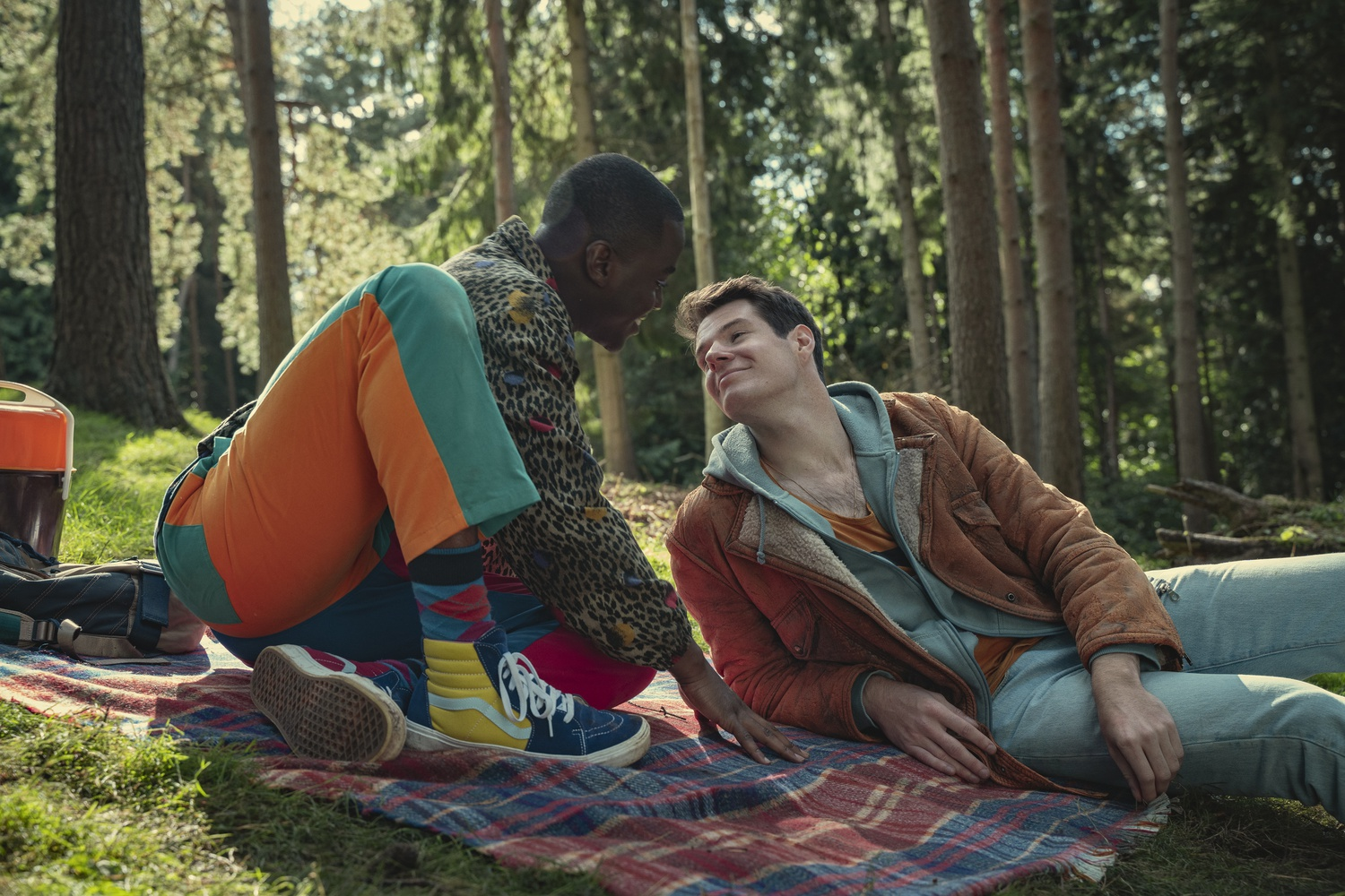 """Ncuti Gatwa as Eric Effiong and Connor Swindells as Adam Groff in """"Sex Education"""""""
