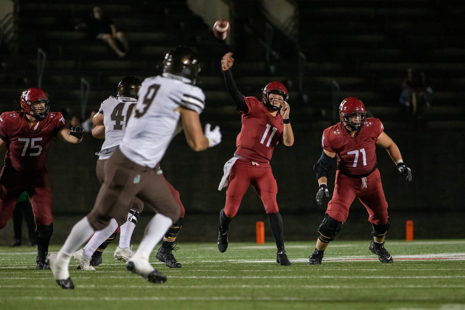 Sophomore quarterback Charlie Dean drives the ball downfield on one of his 24 passing attempts. Dean would finish the night 14-24 with 156 yards, one touchdown, and no interceptions.