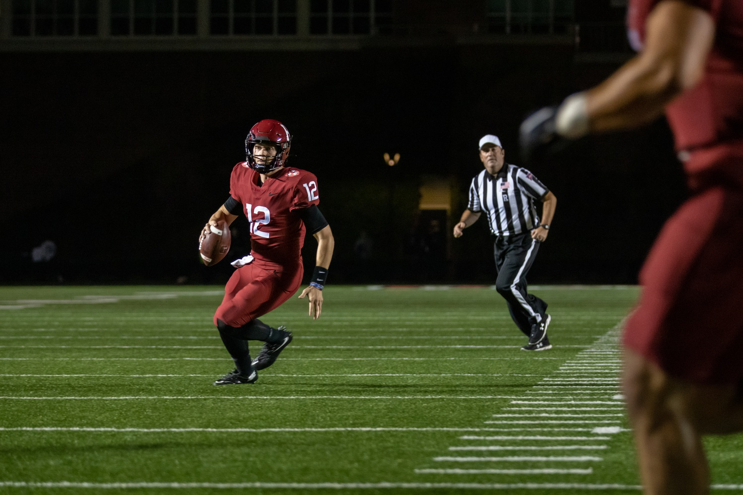 Sophomore quarterback Curt Casteel (#12) also entered the game, rushing once for six yards. Senior QB Jake Smith also made an appearance (#10) with two completions on three passing attempts.