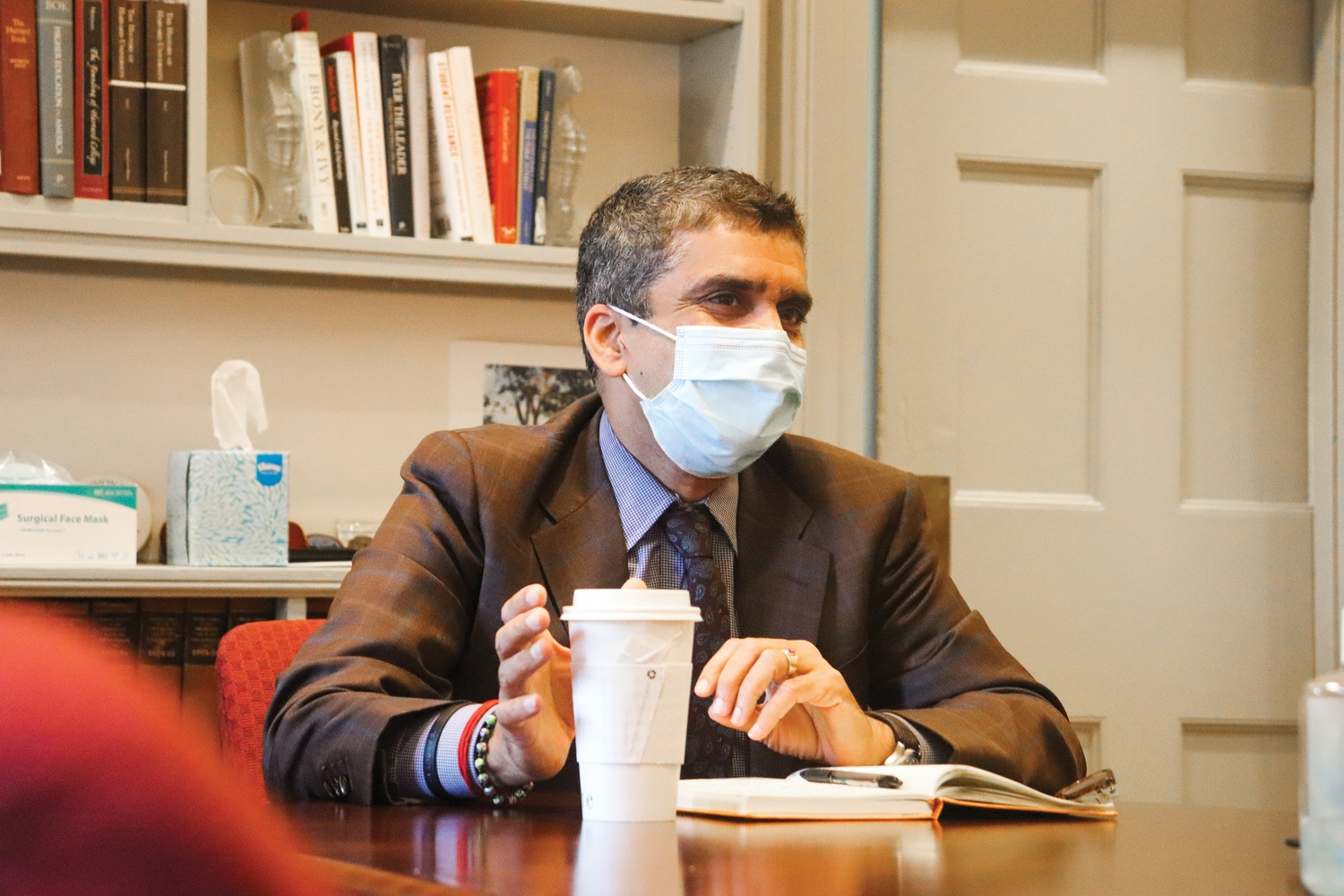 Dean of the College Rakesh Khurana in his office in University Hall Wednesday morning.