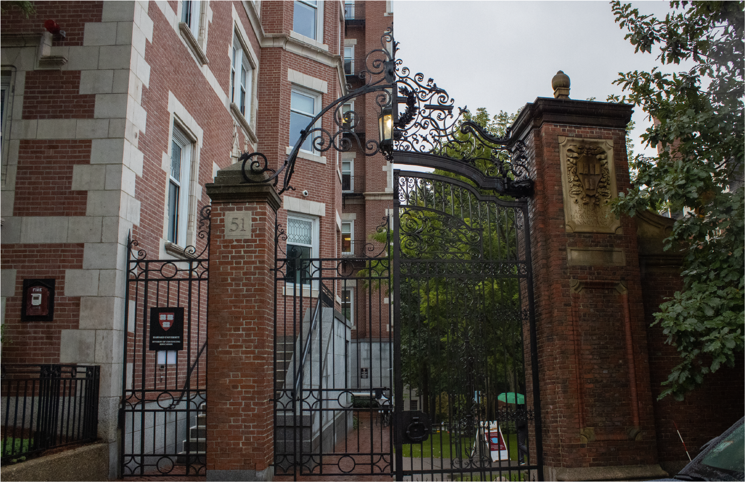 Left: Gates to the offices of the Harvard Division of Continuing Education. Right: Johnston Gate leading into Harvard Yard.