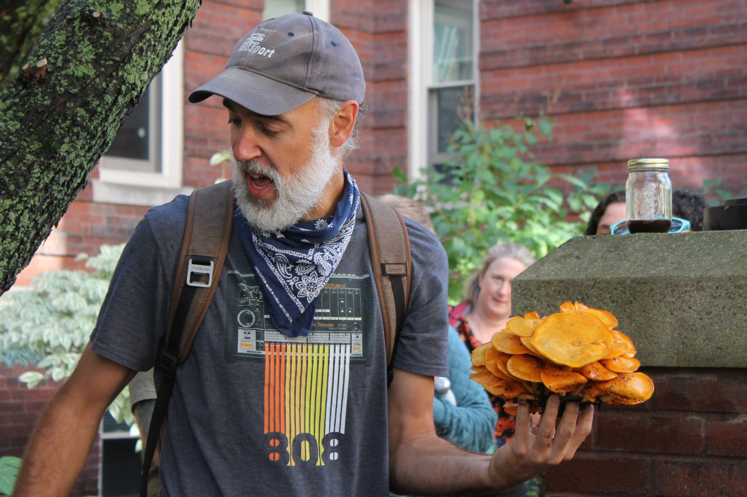 David L. Craft holds up a jack-o'-lantern mushroom in Cambridge. These mushrooms are poisonous.