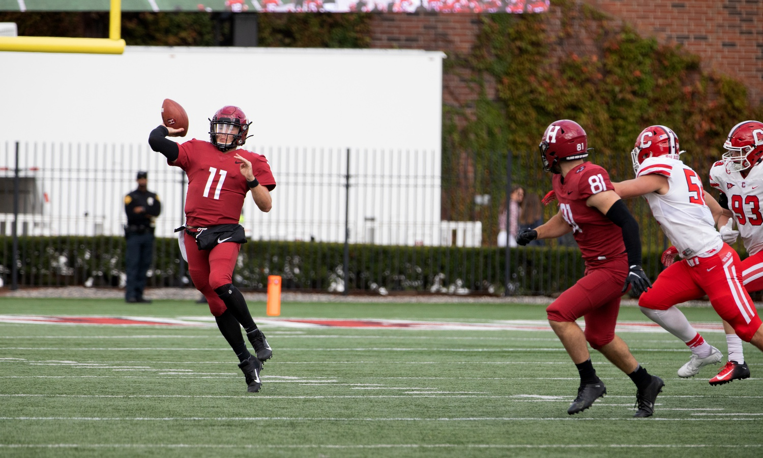 Sophomore quarterback Charlie Dean unleashes a deep throw in the Crimson's 24-10 victory over Cornell.