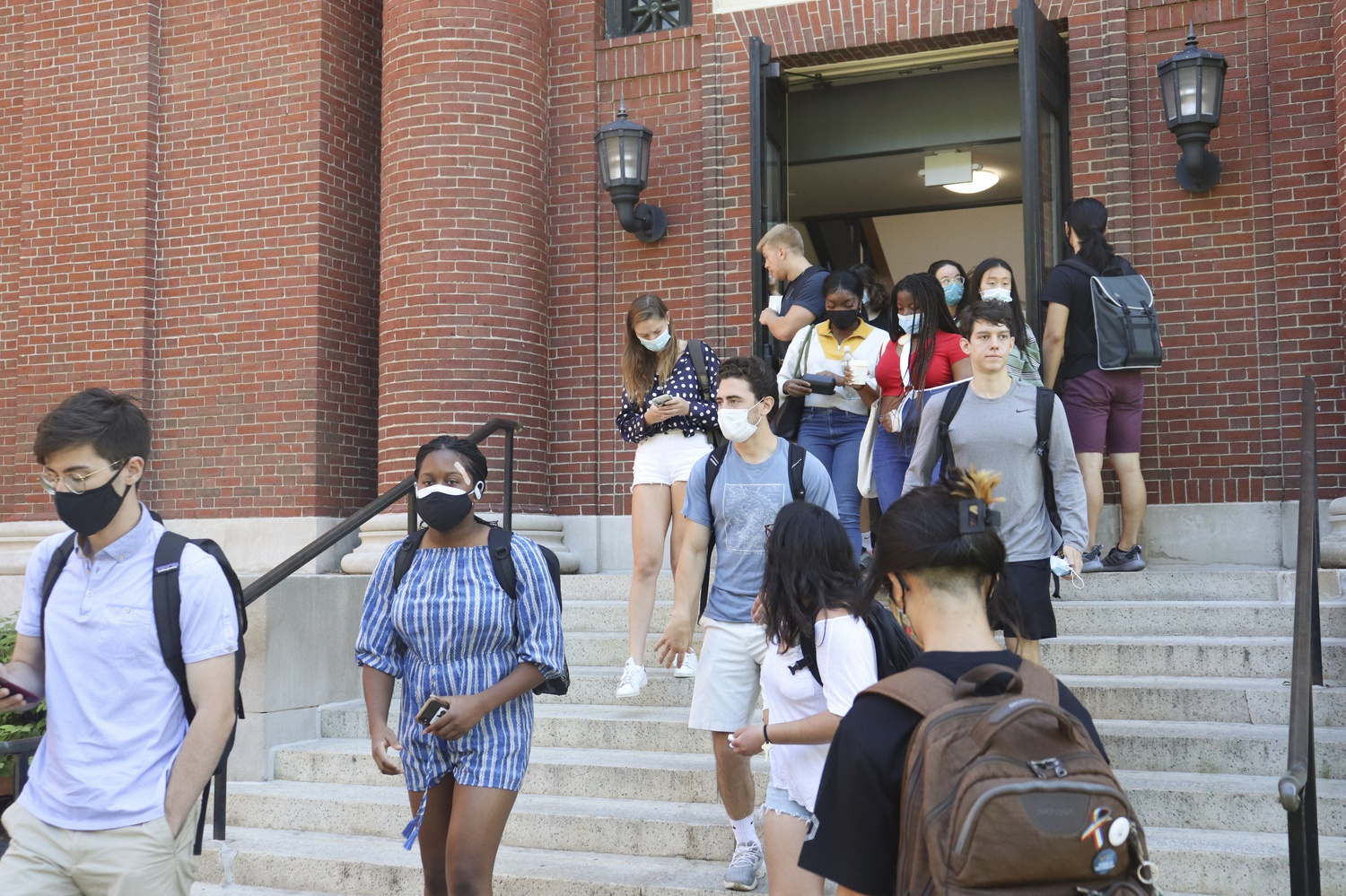 Students exit Emerson Hall after class on Wednesday afternoon.