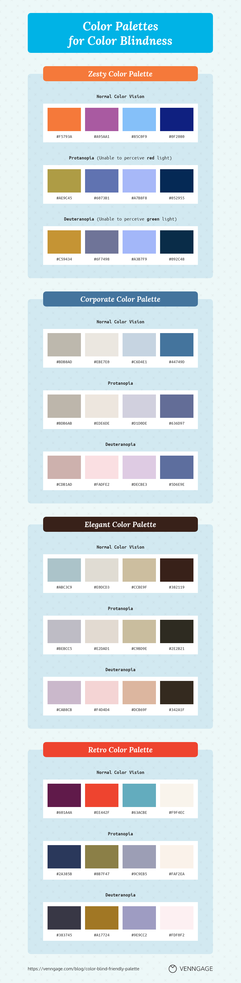 Color Palettes for Color Blindness Infographic Template