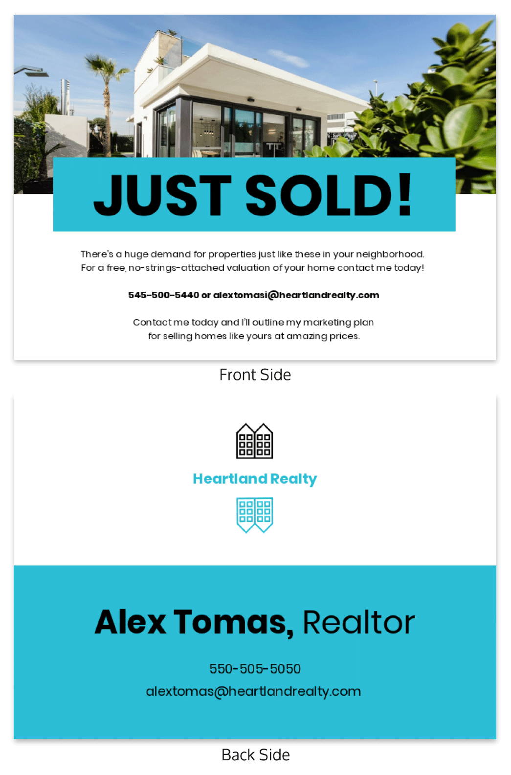 Simple Teal Realty Postcard Template